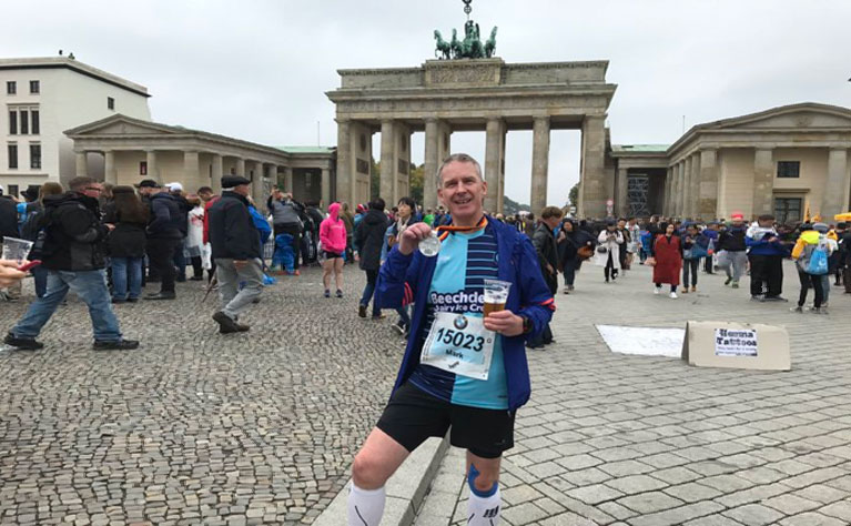 Mark Burrell completing a marathon