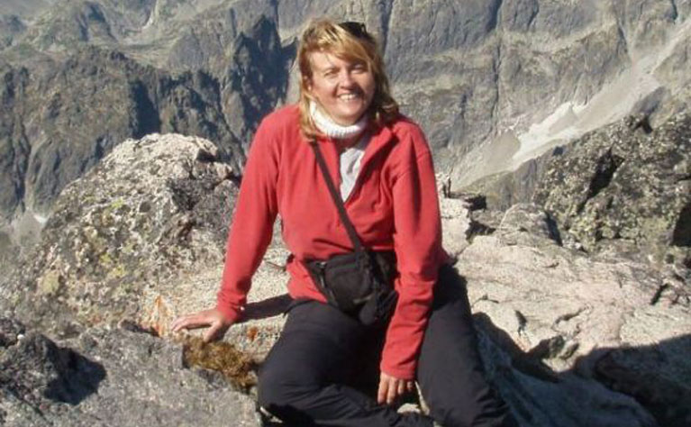 Marta climbing mountain
