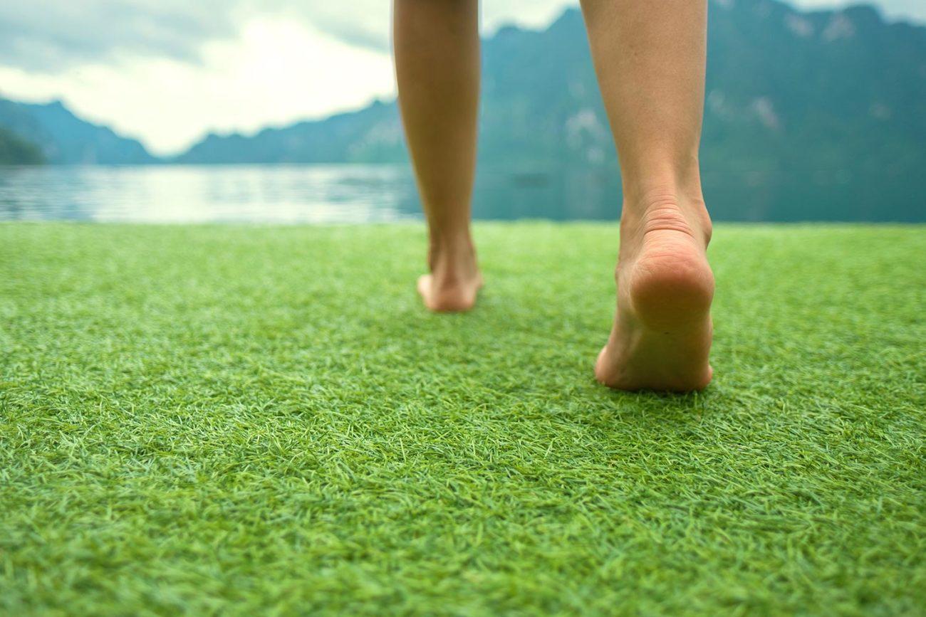 walking across the grass