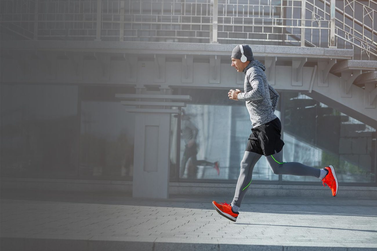 middle aged man running