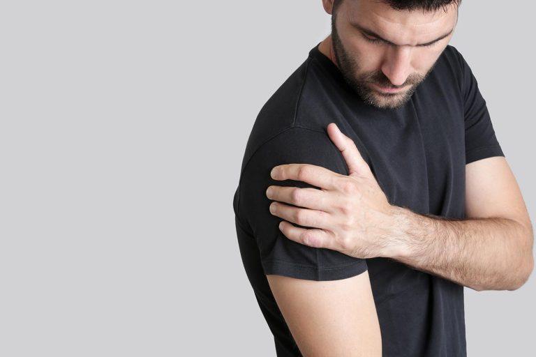 mans shoulder