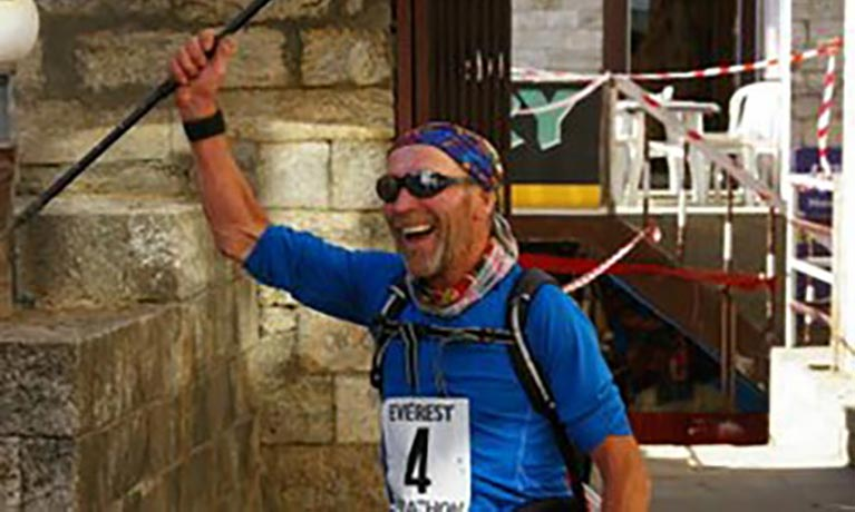 Peter Bell finishing mountain run