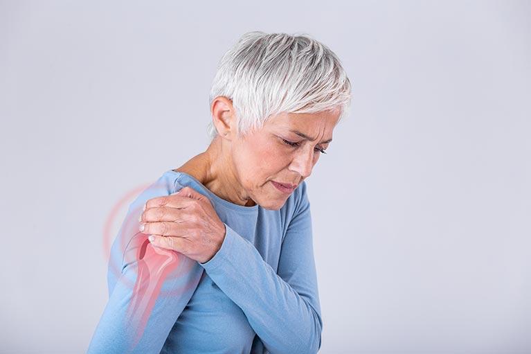 Senior woman shoulder pain