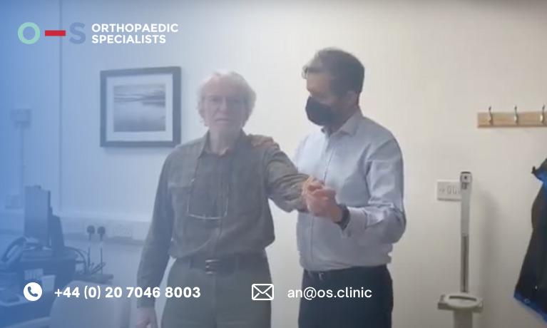 John, 71, with surgeon Mr Ali Noorani after right rotator cuff repair